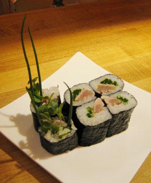 A bonito sushi cut roll